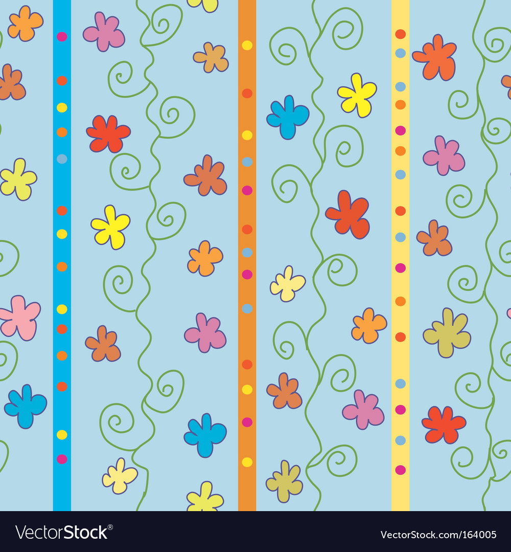 Seamless striped pattern with flowers