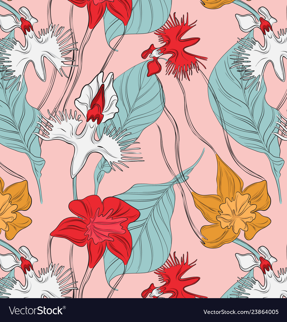 Vintage abstract botanical with red