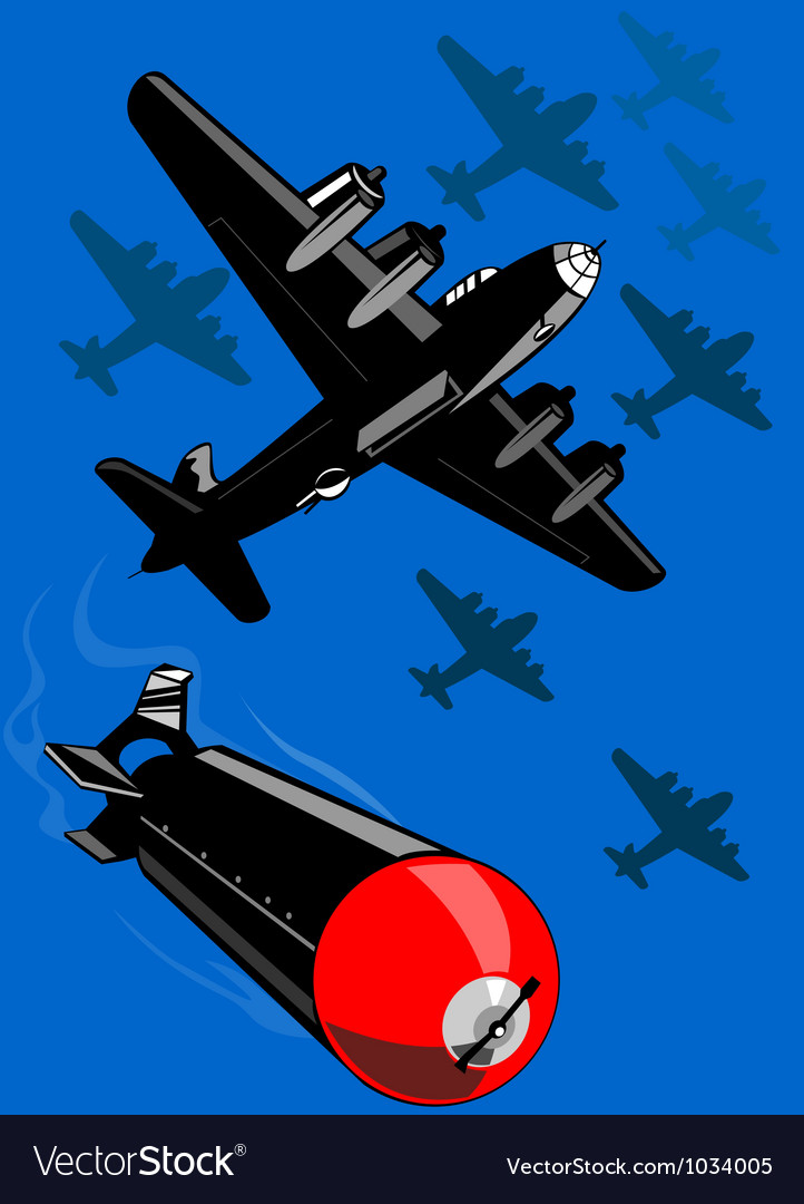 World War Two Bomber Airplanes Drop Bomb Retro vector image