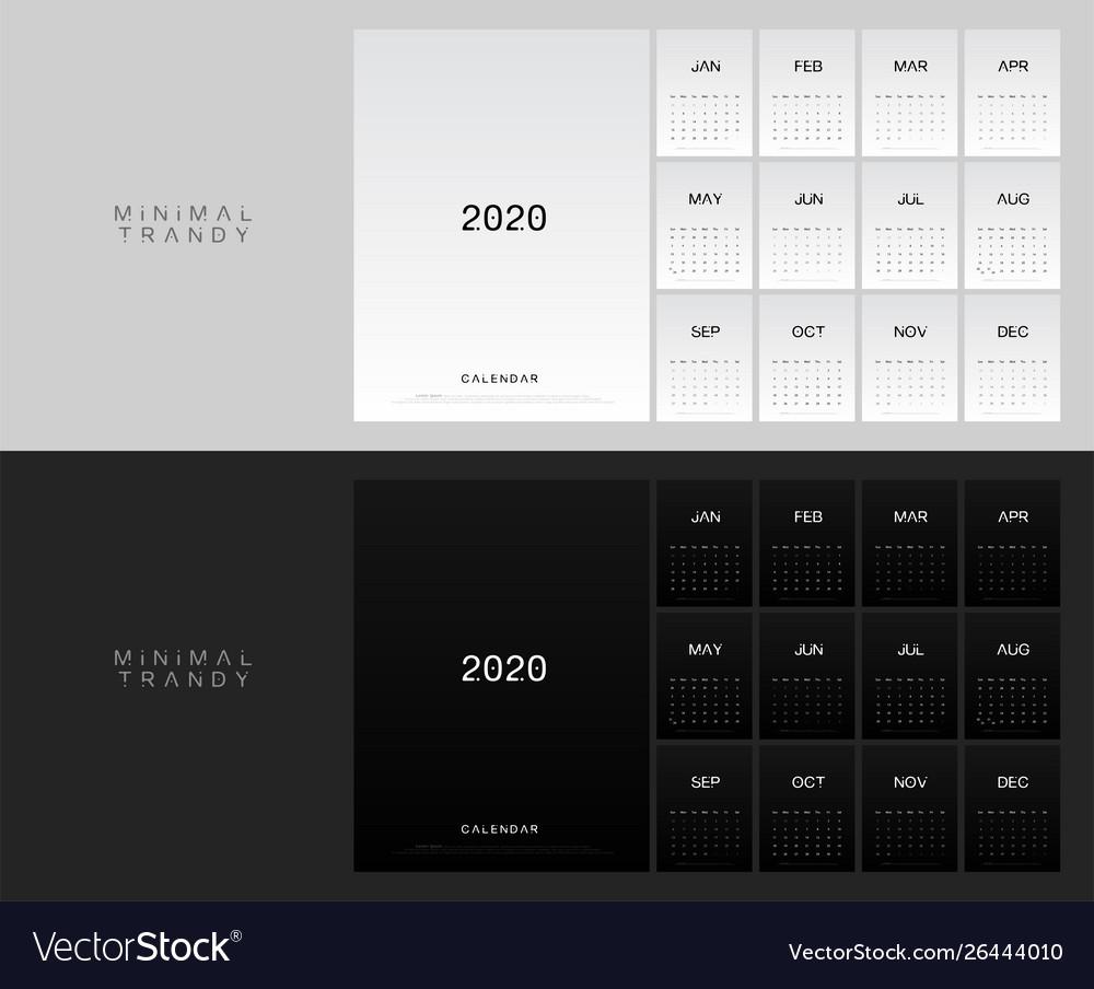 2020 calendar minimal table planner simple style