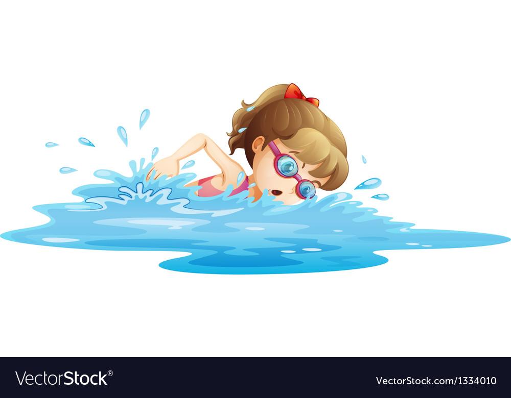 A girl wearing a pink swimwear swimming vector image