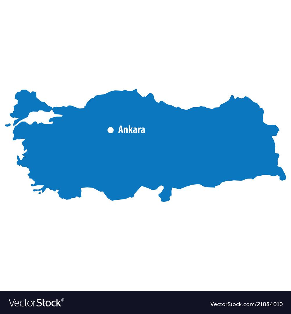 Capital City Of Turkey Map Blue map of turkey with capital city ankara turke Vector Image