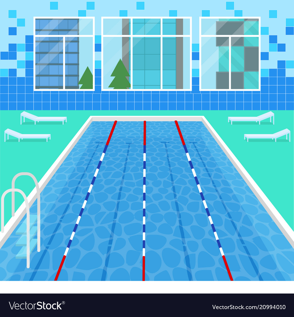 Cartoon swimming pool interior card poster