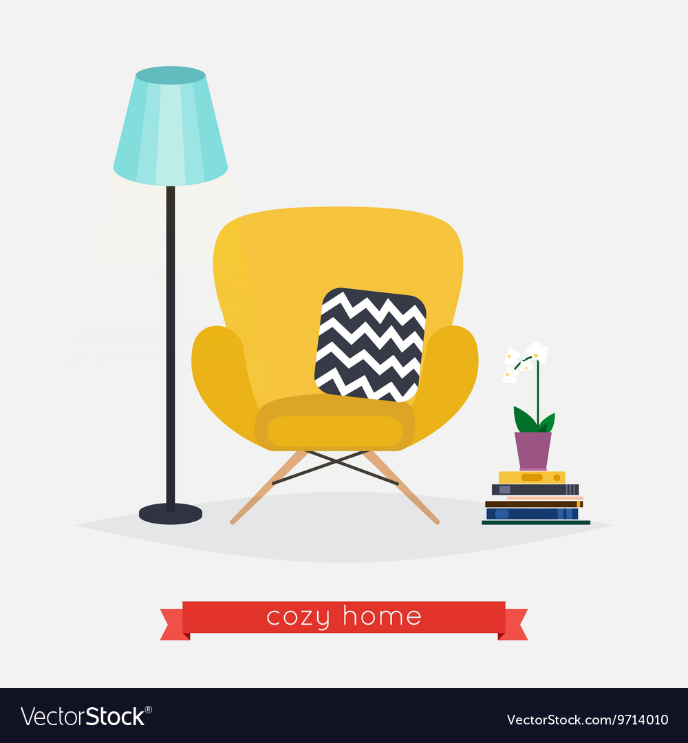 Comfortable home armchair and floor lamp books and