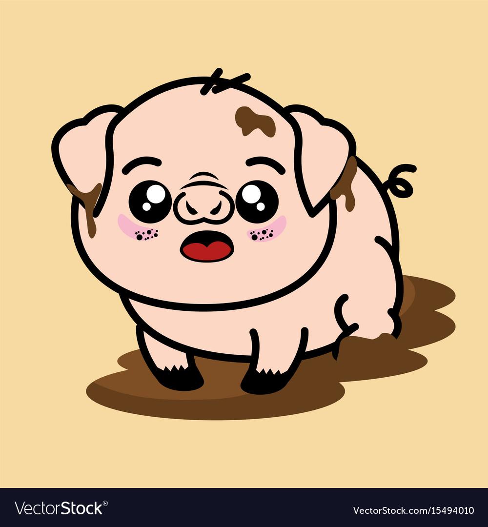 Cute and dirty pig cartoon