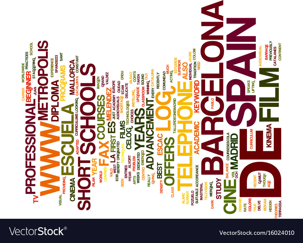 Film school barcelona text background word cloud vector image