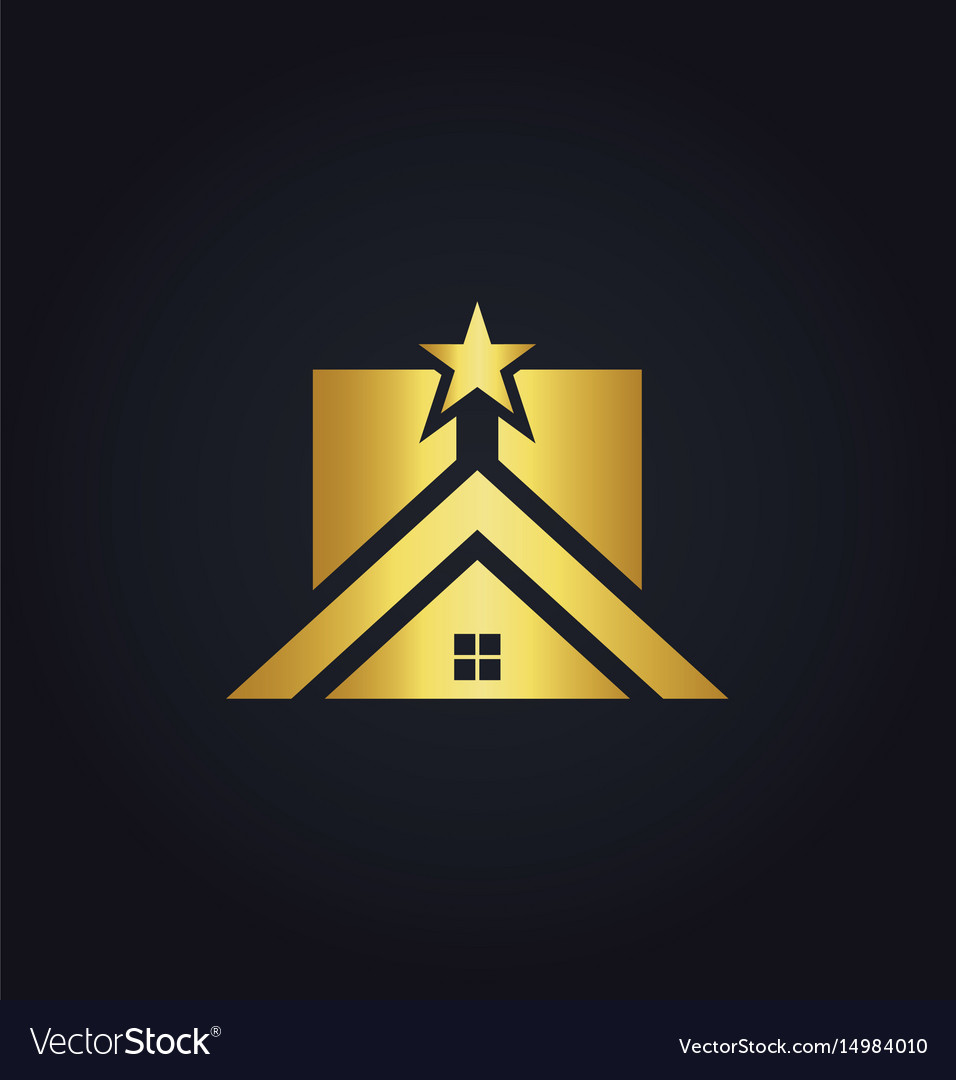Gold home icon star realty logo