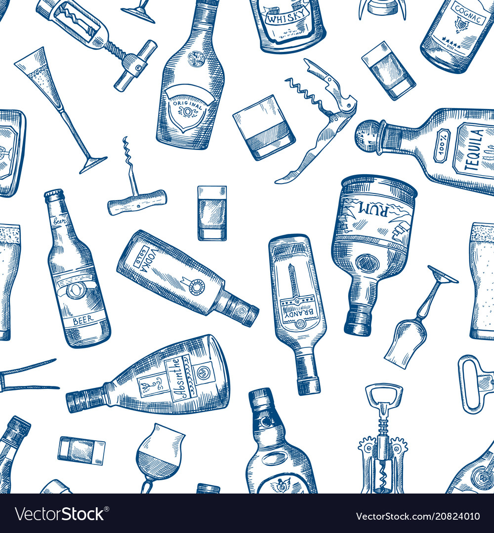 Hand drawn seamless pattern with various alcohol