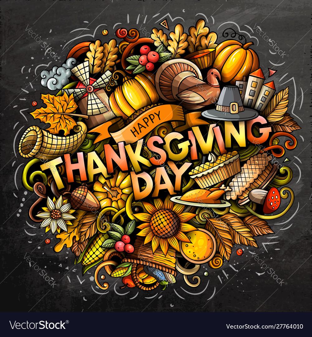Happy thanksgiving hand drawn cartoon doodles