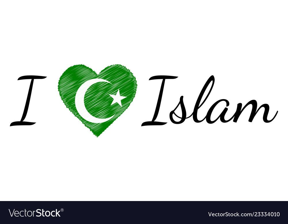 I love faith islam text heart doodle