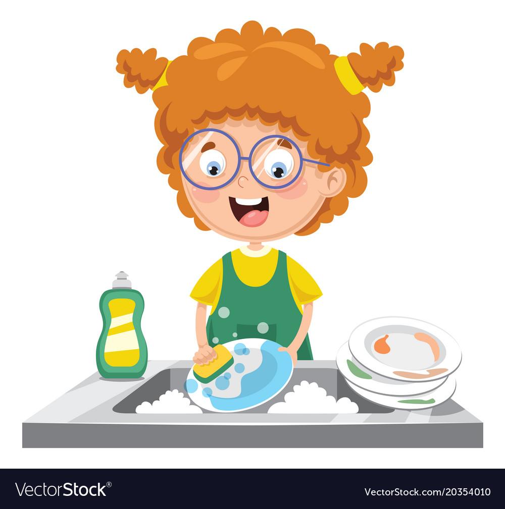Best Washing Dishes Illustrations Royalty Free Vector: Kid Washing Dishes Royalty Free Vector Image