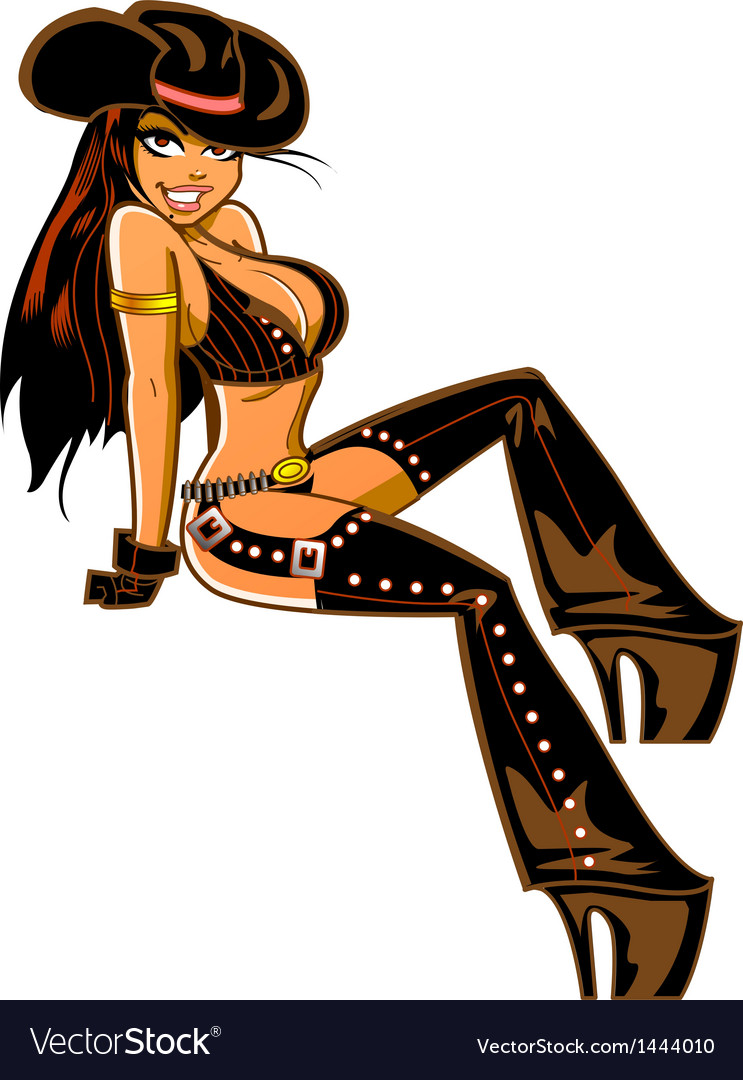 Sexy Brunette Cowgirl vector image