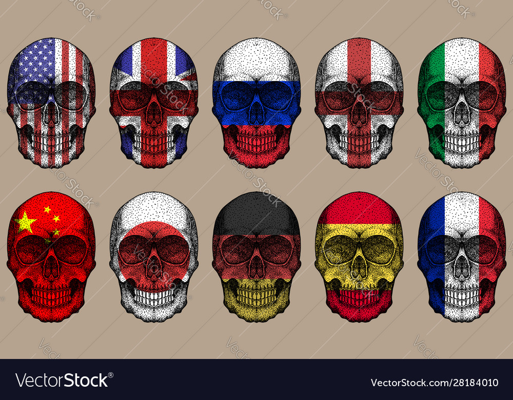 Skull flags set
