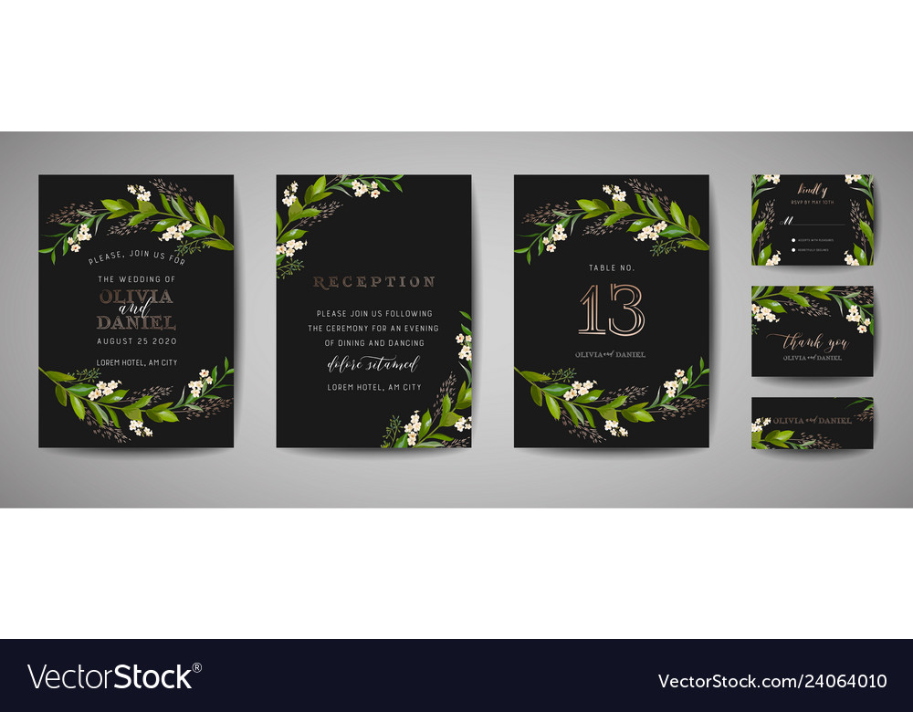 Wedding save date invitation floral cards