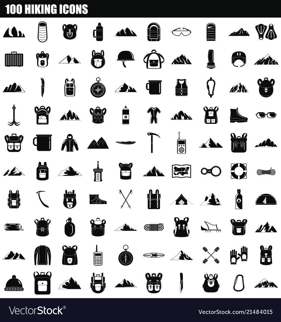 95155810 100 hiking icon set simple style Royalty Free Vector Image