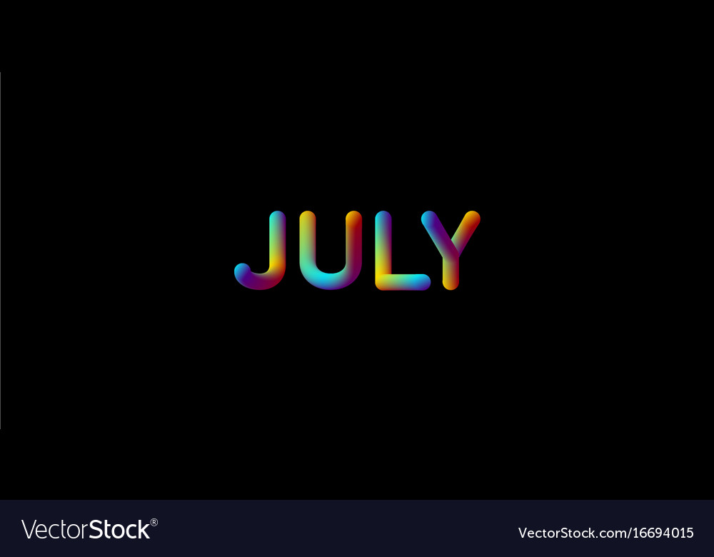 3d iridescent gradient july month sign vector image