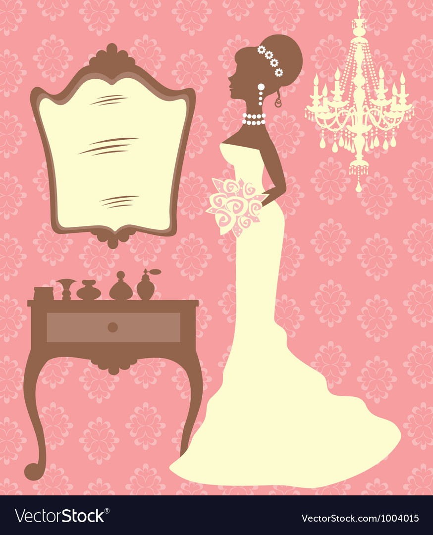 Beautiful bride in dressing room vector image