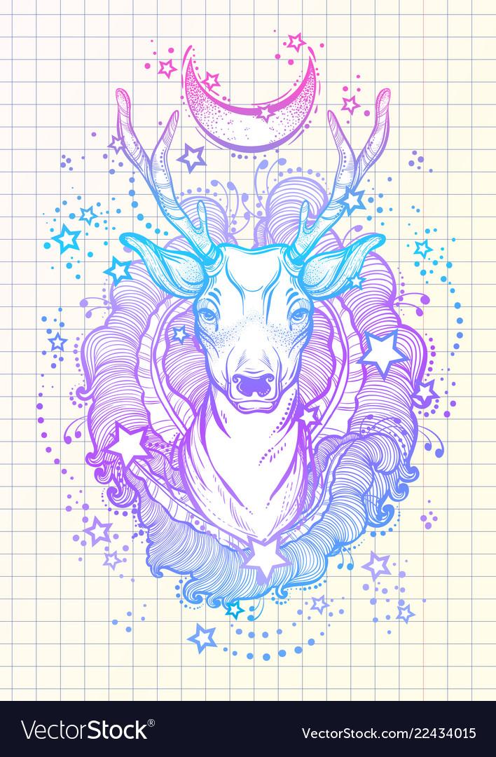 Beautiful hand-drawn tribal style deer in neon