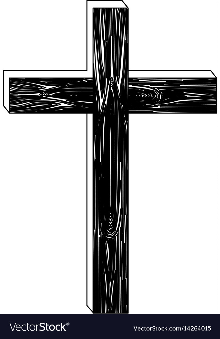 Black silhouette of wooden cross