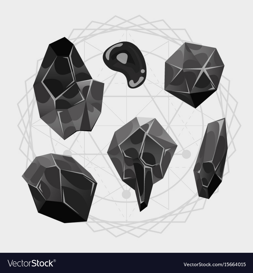Cartoon stones icons set of a set of vector image