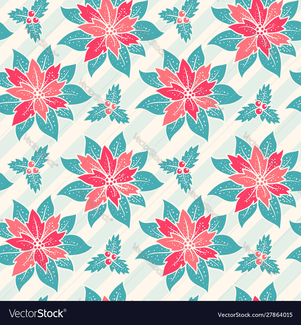 Christmas pattern with red flowers