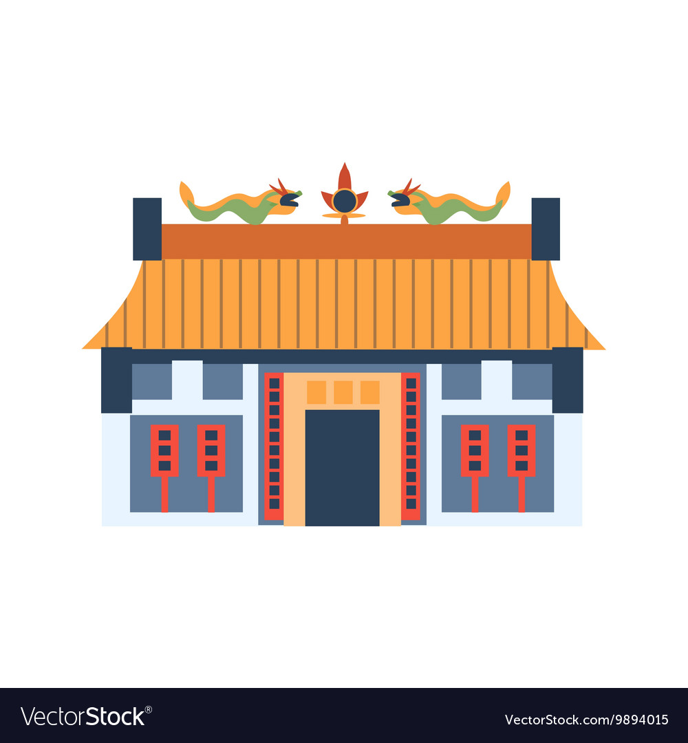 Classic Chinese House With Dragons On The Roof vector image