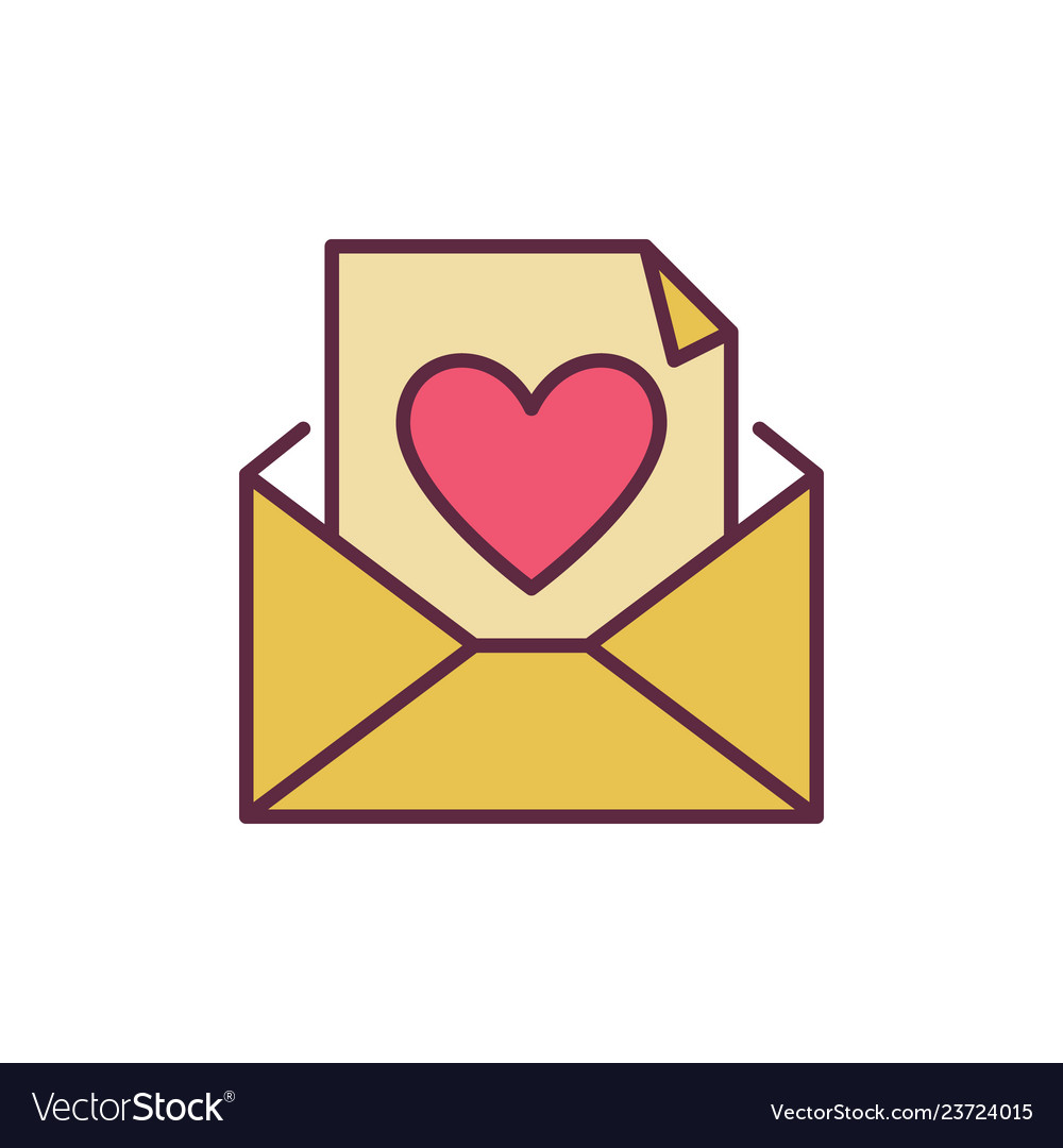 Envelope and letter with heart creative