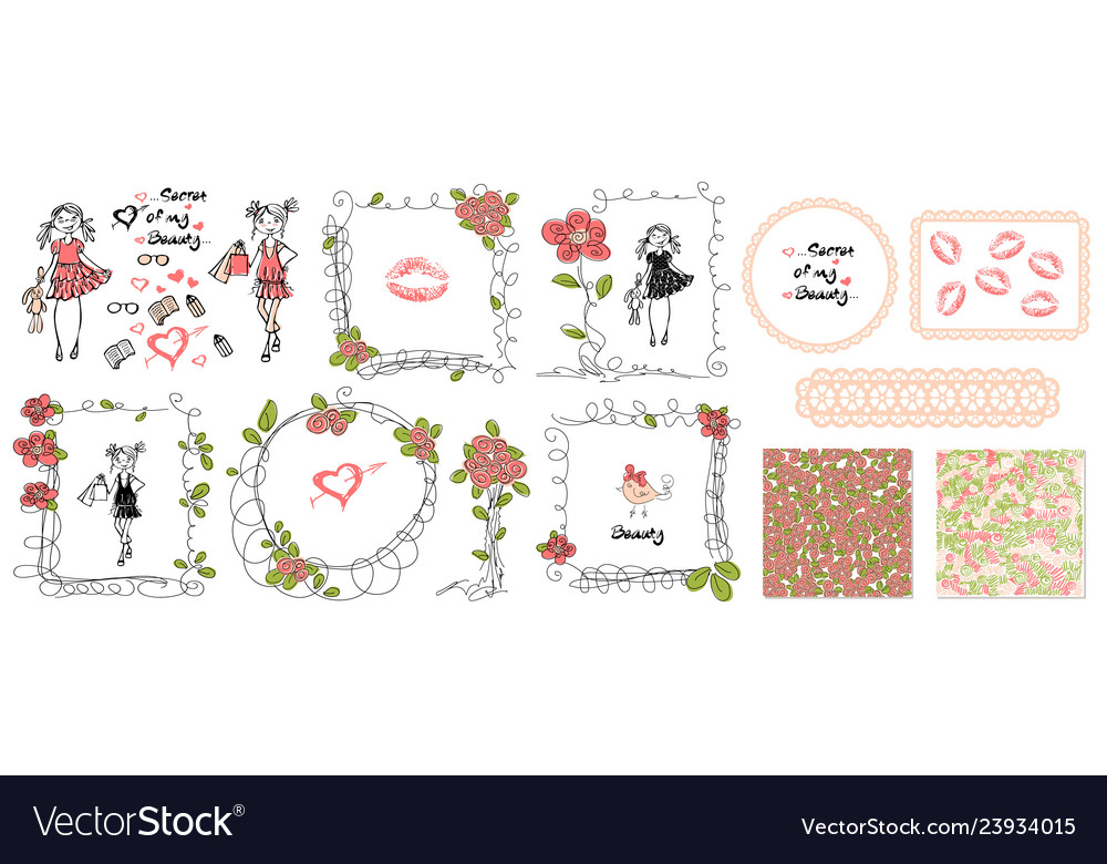 Floral girls doodle frames in hand drawn style