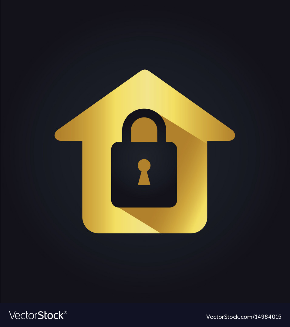Home lock secure icon gold logo