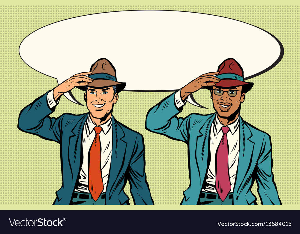 Joyful white and black businessmen in retro hats vector image