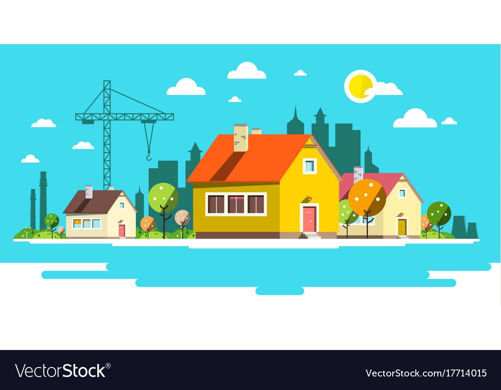 Landscape with houses flat design city