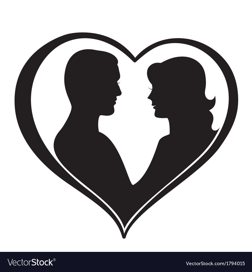 man and woman silhouette in heart shape royalty free vector rh vectorstock com heart shape vector png heart shaped victoria sponge cake