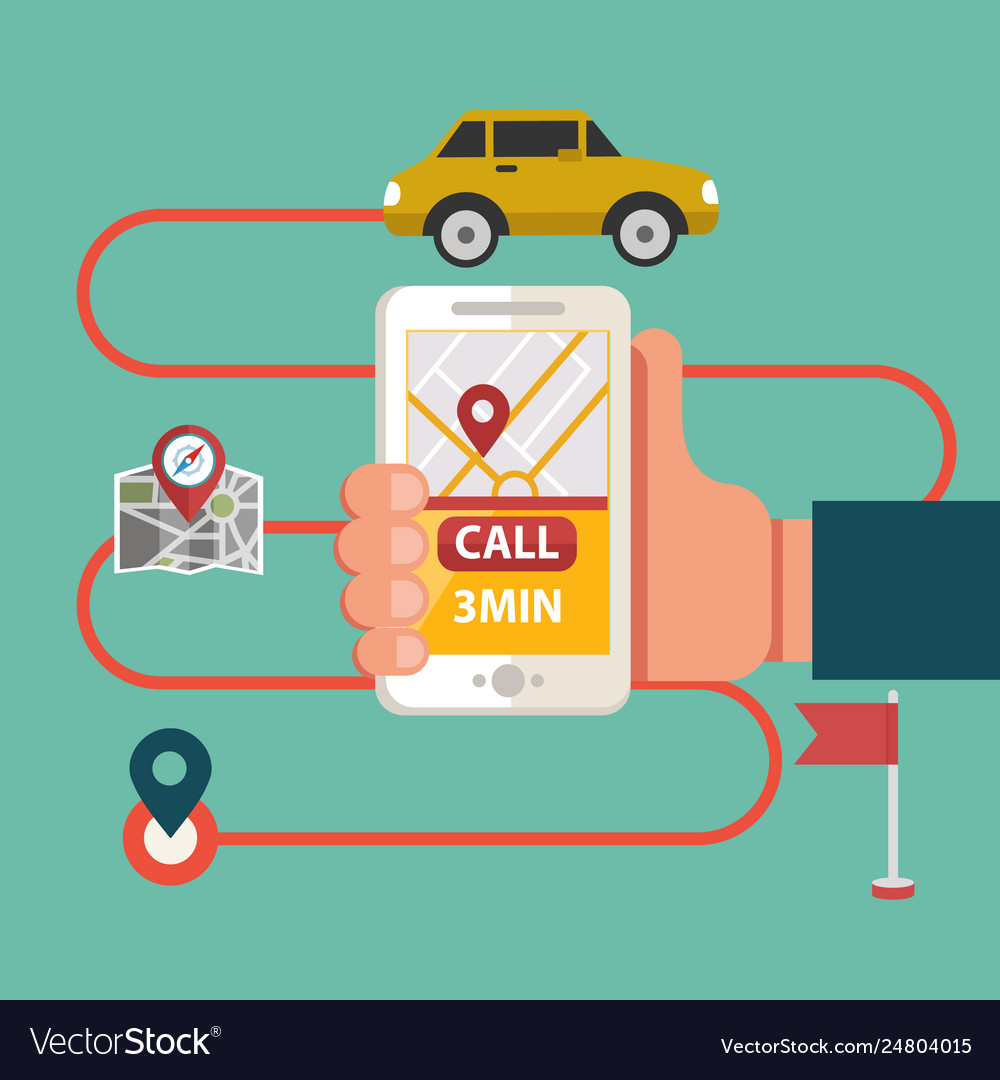 Process booking taxi via mobile app calling