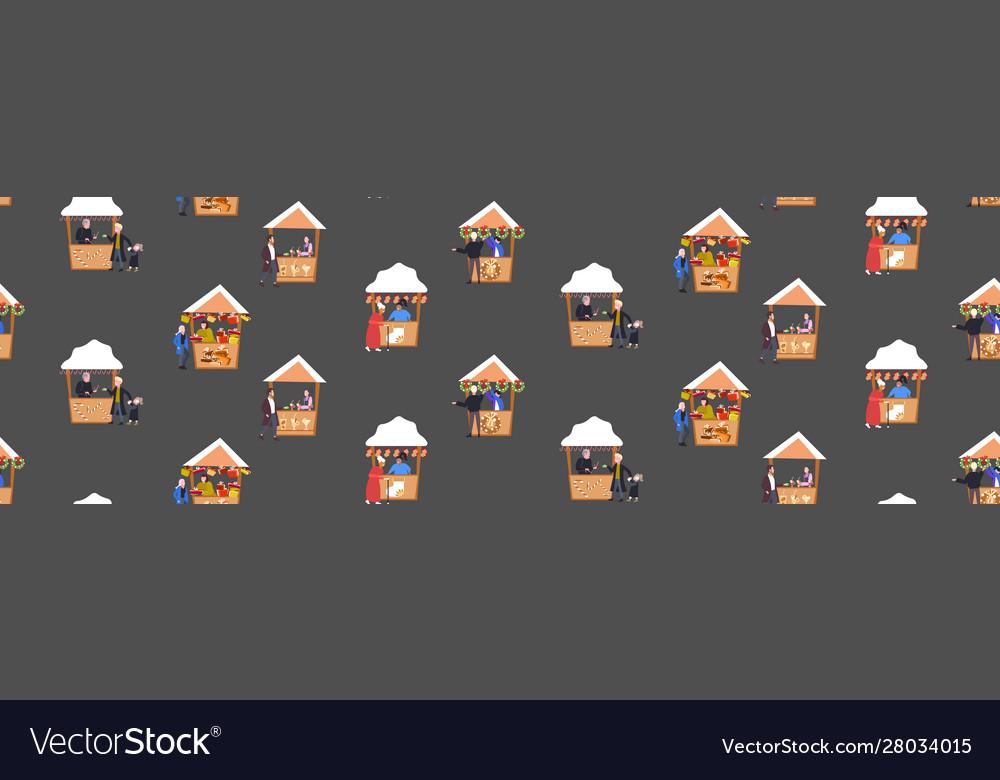 Set christmas market or holiday fair stalls merry