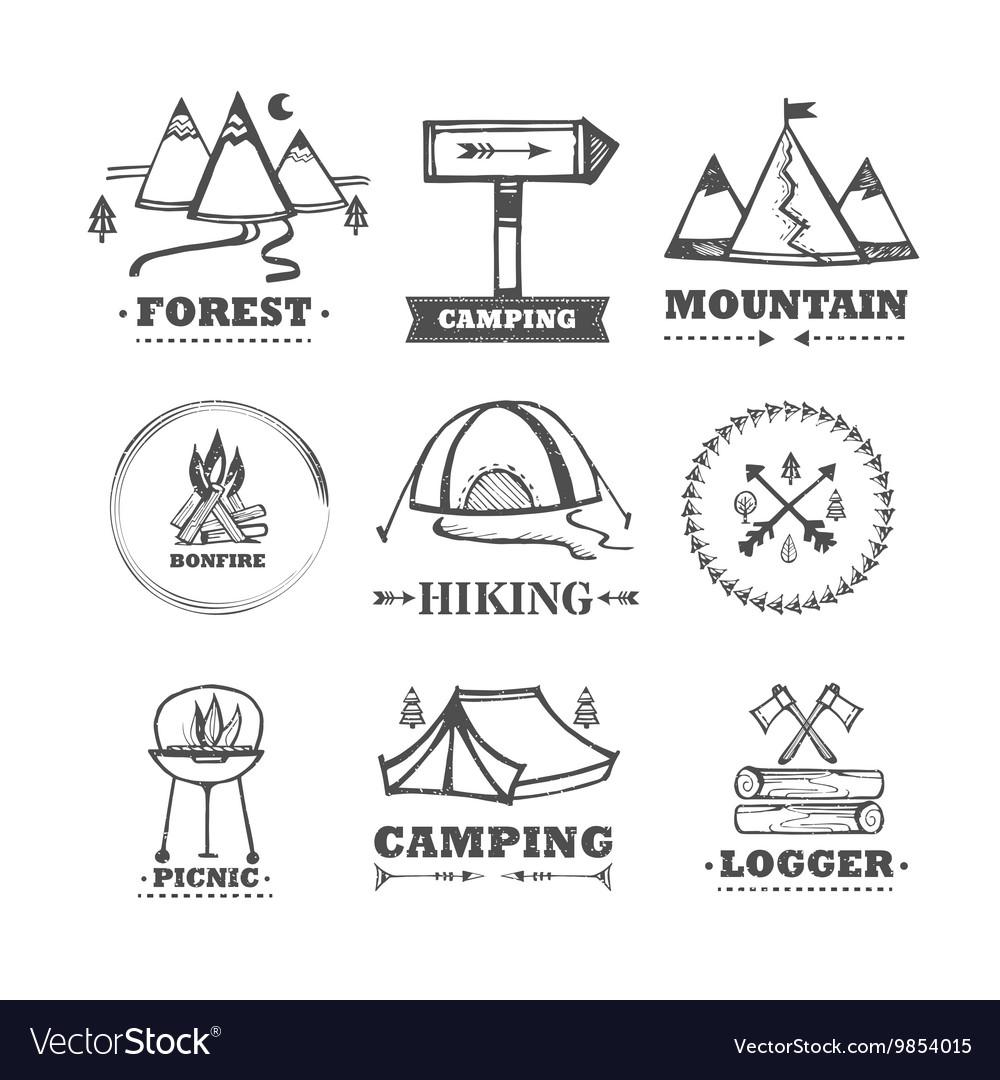 Set of logos camping