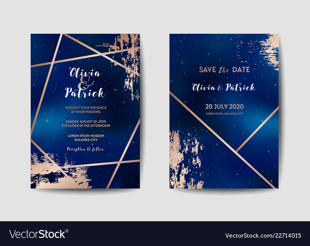 Starry Night Sky Wedding Invitation Card Set Vector Image