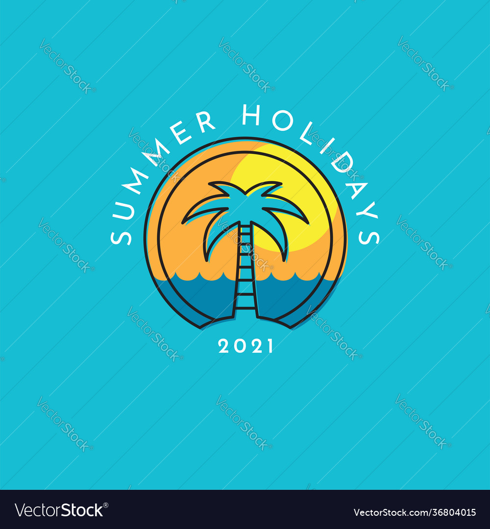 Summer holidays logo with a palm tree