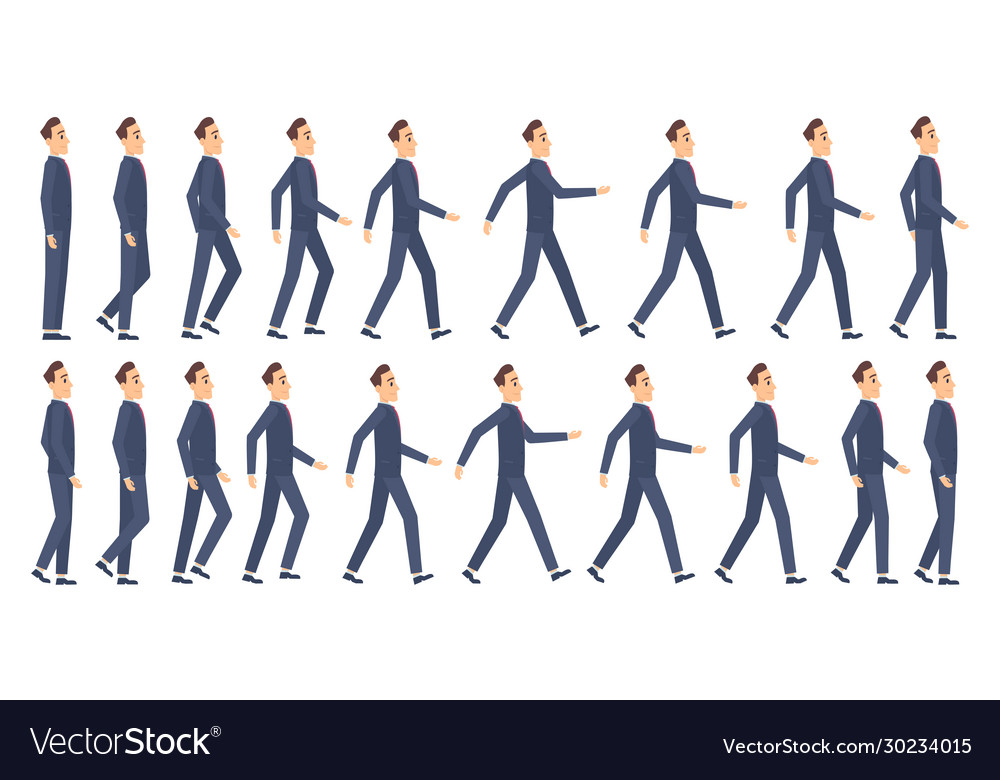 Walking animation business characters 2d
