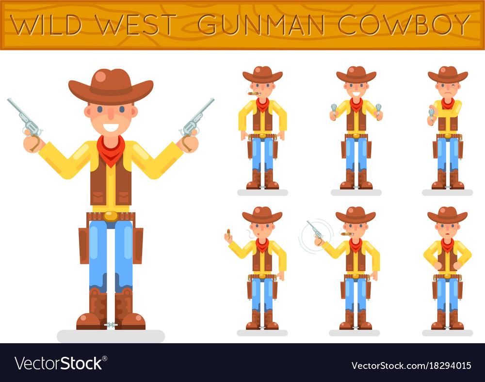 Wild west american retro gunman cowboy flat design