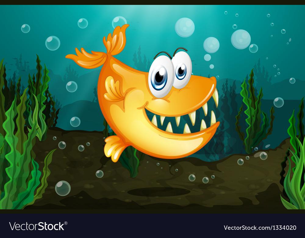 A yellow piranha near the seaweeds