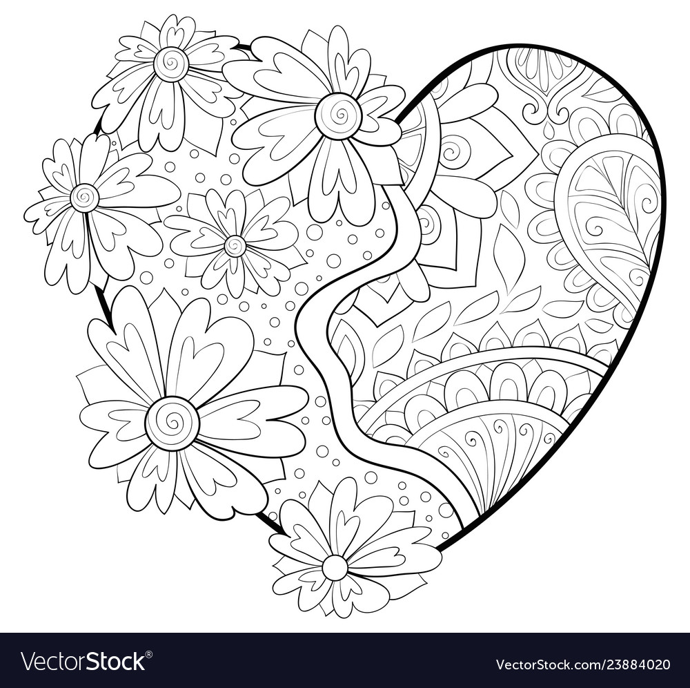 Adult coloring bookpage a valentines day heart