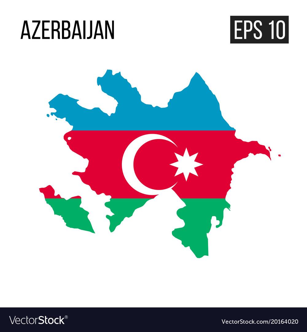 Azerbaijan Map Border With Flag Eps10 Royalty Free Vector