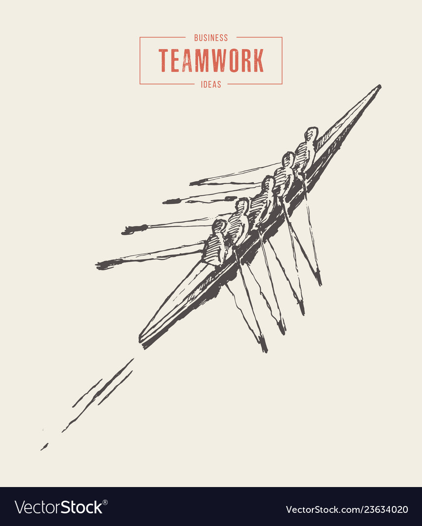 Business canoeing team teamwork sketch a together