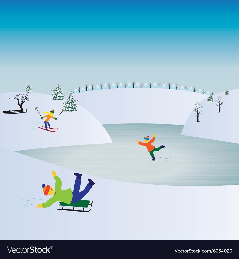Children and winter sports Kids playing winter gam