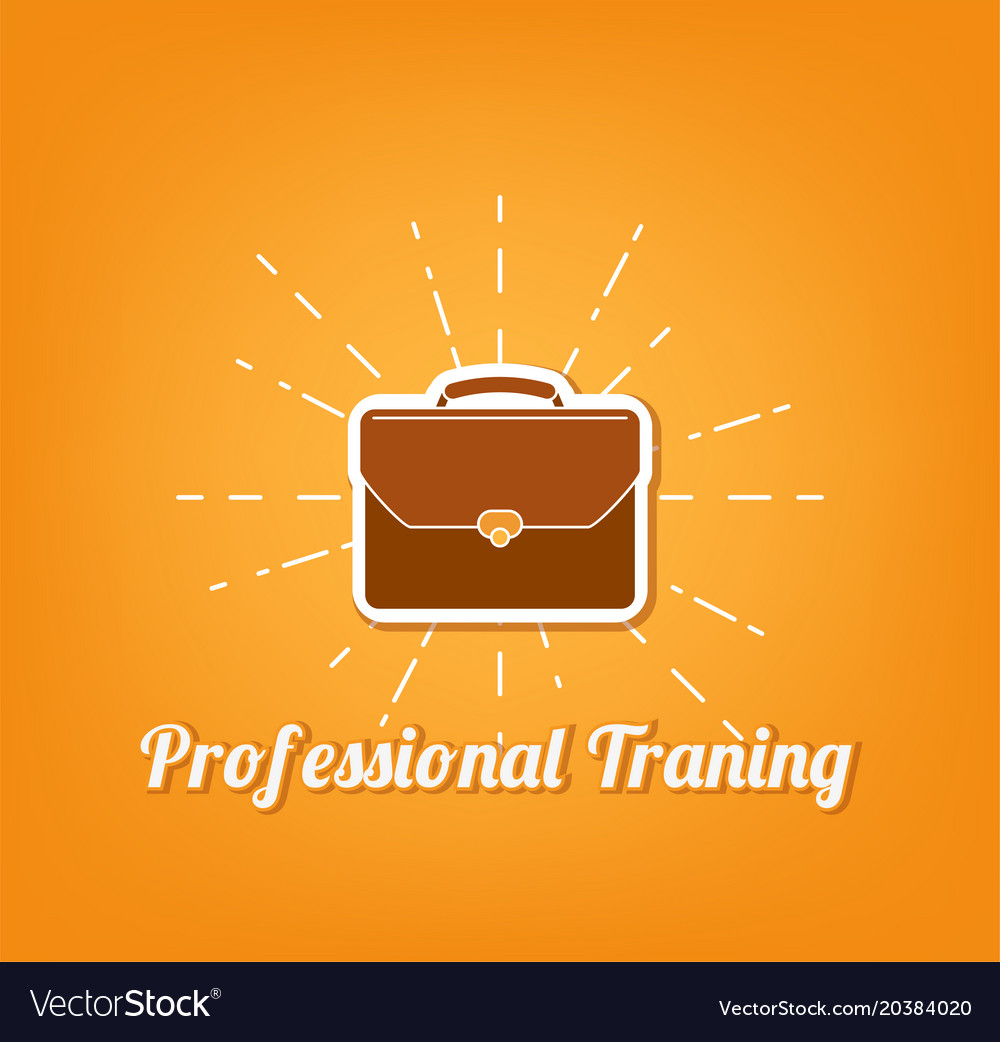 Flat icon of briefcase professional training