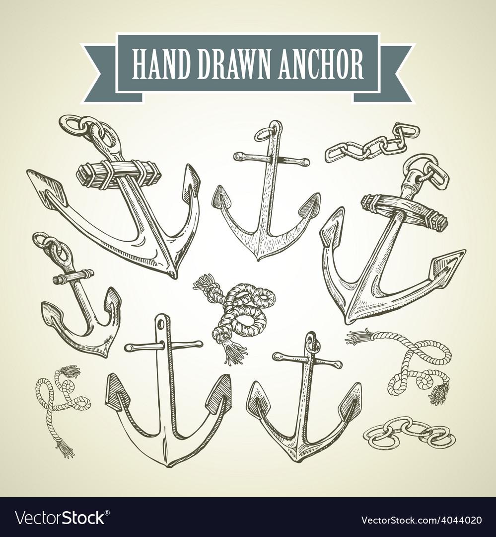 Hand drawn anchor Set of