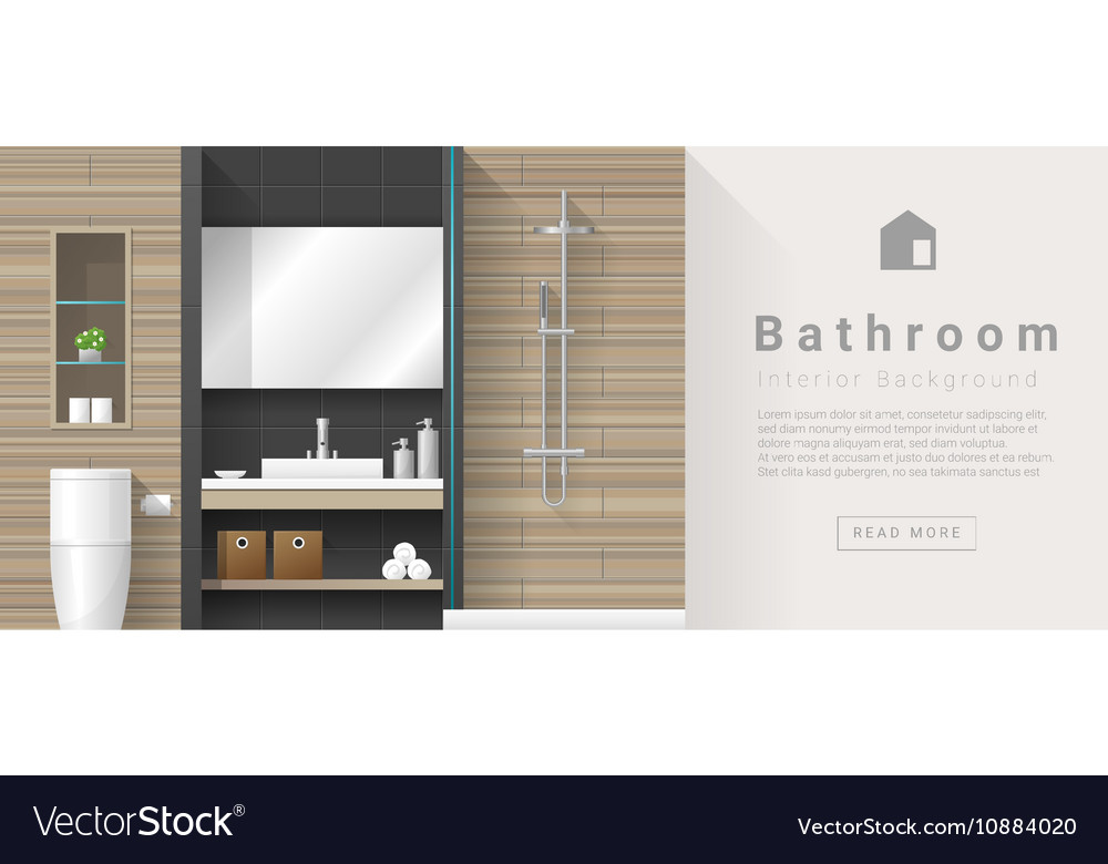 Interior Design Modern Bathroom Background 3 Vector Image