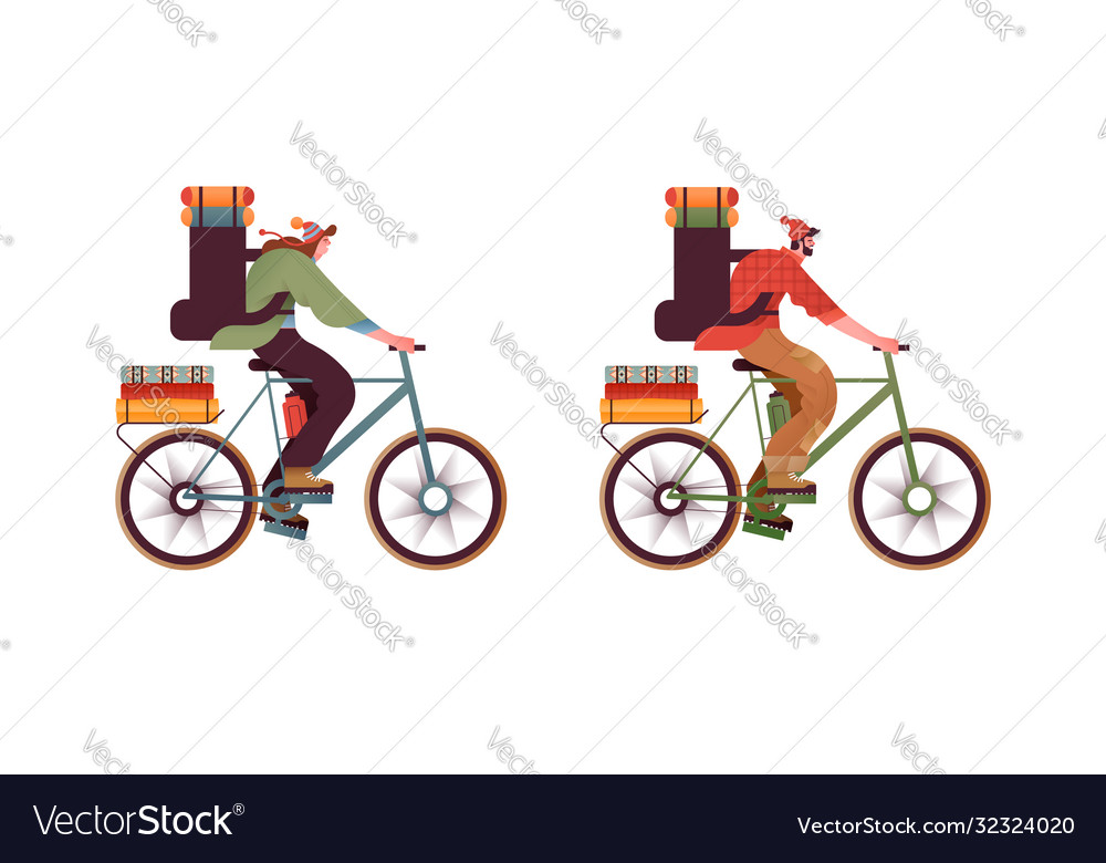 People in bike with backpack isolated set