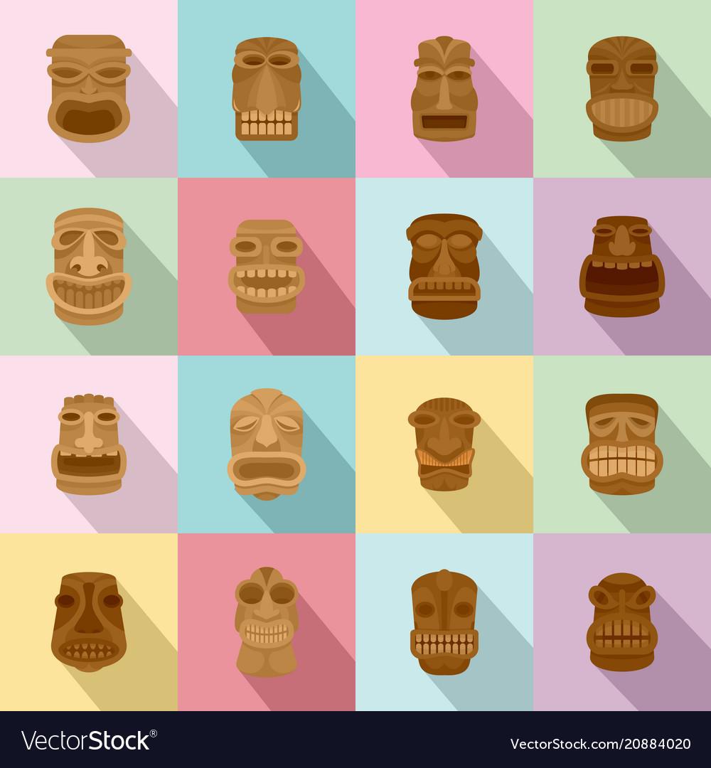 Tiki idol aztec hawaii face icons set flat style vector image