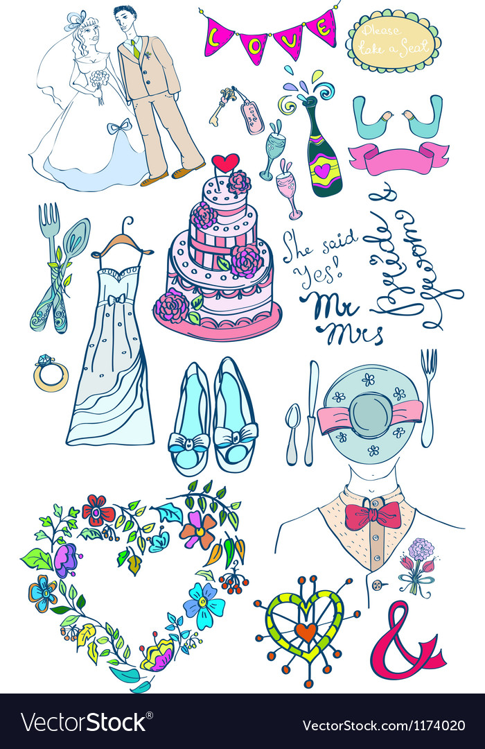 Wedding doodle color set